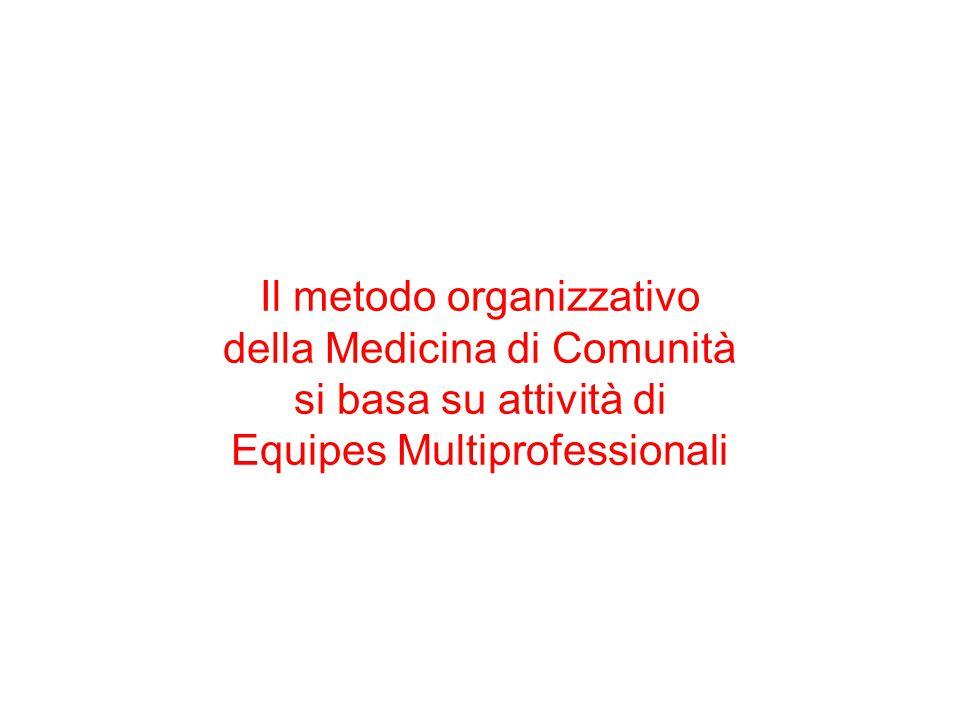 Il metodo organizzativo della Medicina di Comunità si basa su attività di Equipes Multiprofessionali