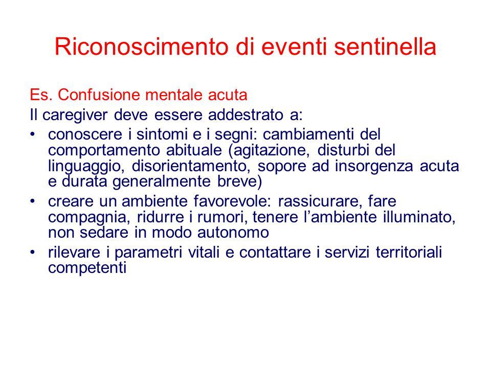 Riconoscimento di eventi sentinella Es. Confusione mentale acuta Il caregiver deve essere addestrato a: conoscere i sintomi e i segni: cambiamenti del