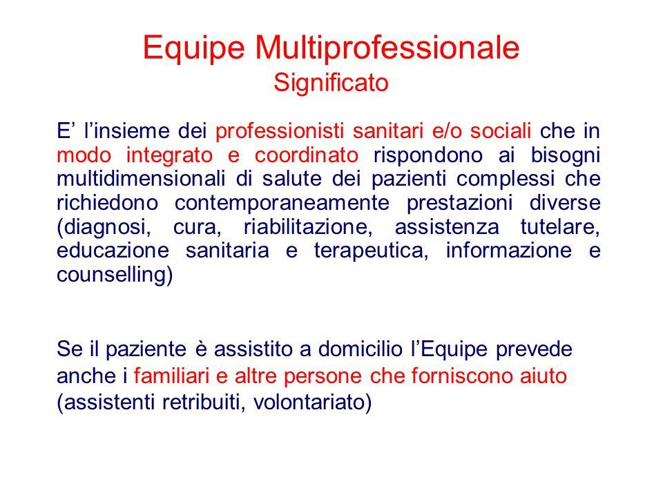 Equipe Multiprofessionale Significato E' l'insieme dei professionisti sanitari e/o sociali che in modo integrato e coordinato rispondono ai bisogni mu