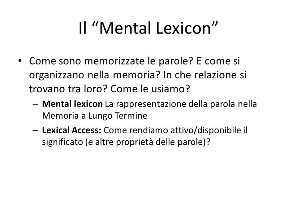 Il Mental Lexicon Come sono memorizzate le parole.