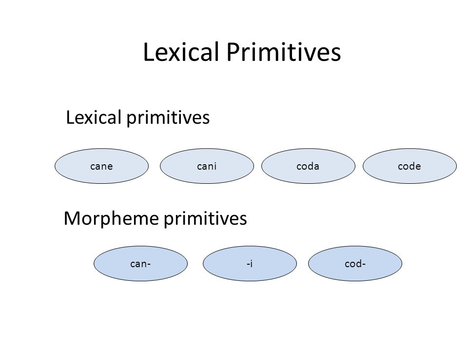 Lexical primitives Morpheme primitives canecanicodacodecan--icod- Lexical Primitives