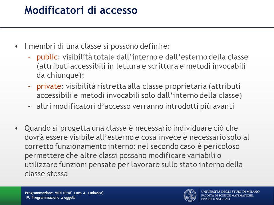 Modificatori di accesso Programmazione MIDI (Prof.