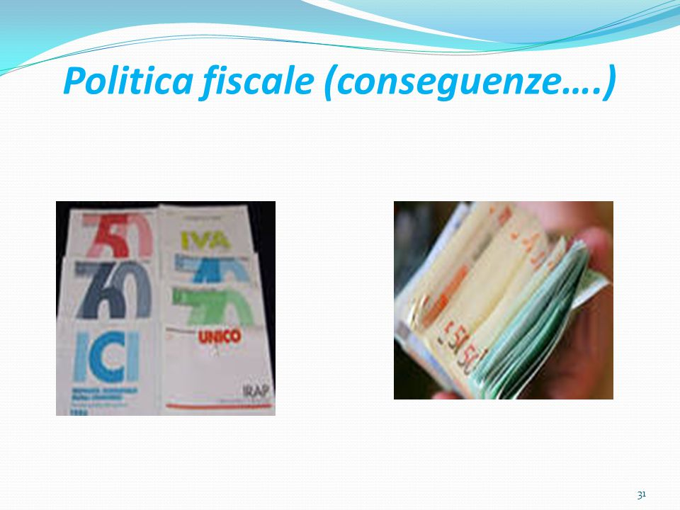 Politica fiscale (conseguenze….) 31