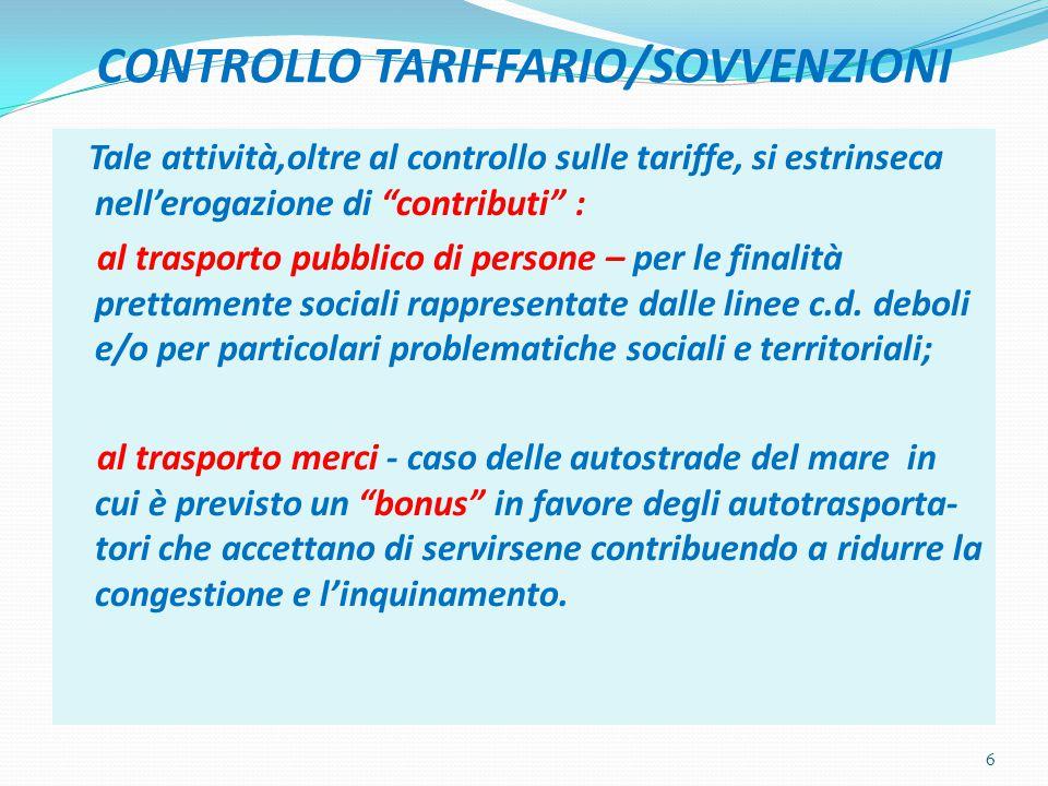 """CONTROLLO TARIFFARIO/SOVVENZIONI Tale attività,oltre al controllo sulle tariffe, si estrinseca nell'erogazione di """"contributi"""" : al trasporto pubblico"""
