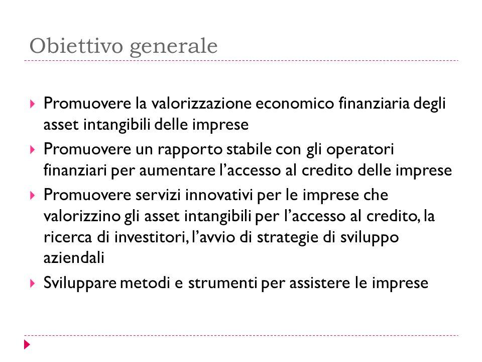Obiettivo generale  Promuovere la valorizzazione economico finanziaria degli asset intangibili delle imprese  Promuovere un rapporto stabile con gli