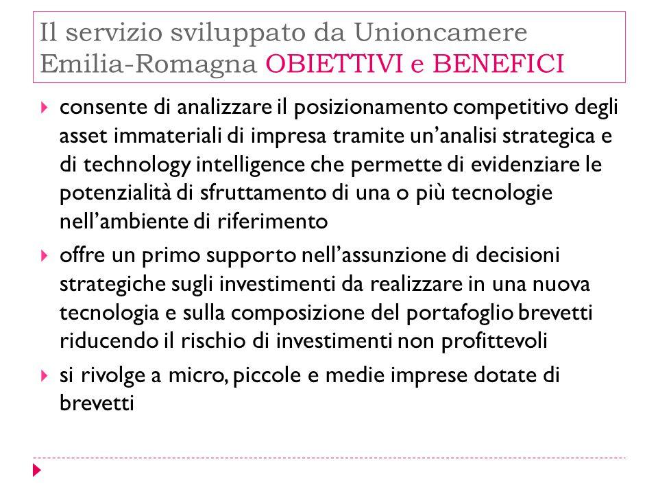 Il servizio sviluppato da Unioncamere Emilia-Romagna OBIETTIVI e BENEFICI  consente di analizzare il posizionamento competitivo degli asset immateria