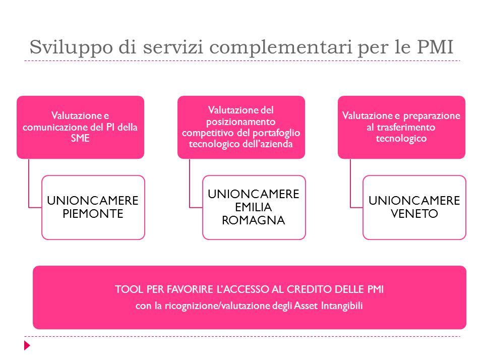 Sviluppo di servizi complementari per le PMI Valutazione e comunicazione del PI della SME UNIONCAMERE PIEMONTE Valutazione del posizionamento competit