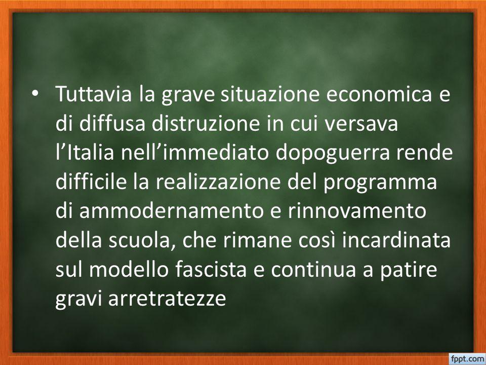Tuttavia la grave situazione economica e di diffusa distruzione in cui versava l'Italia nell'immediato dopoguerra rende difficile la realizzazione del