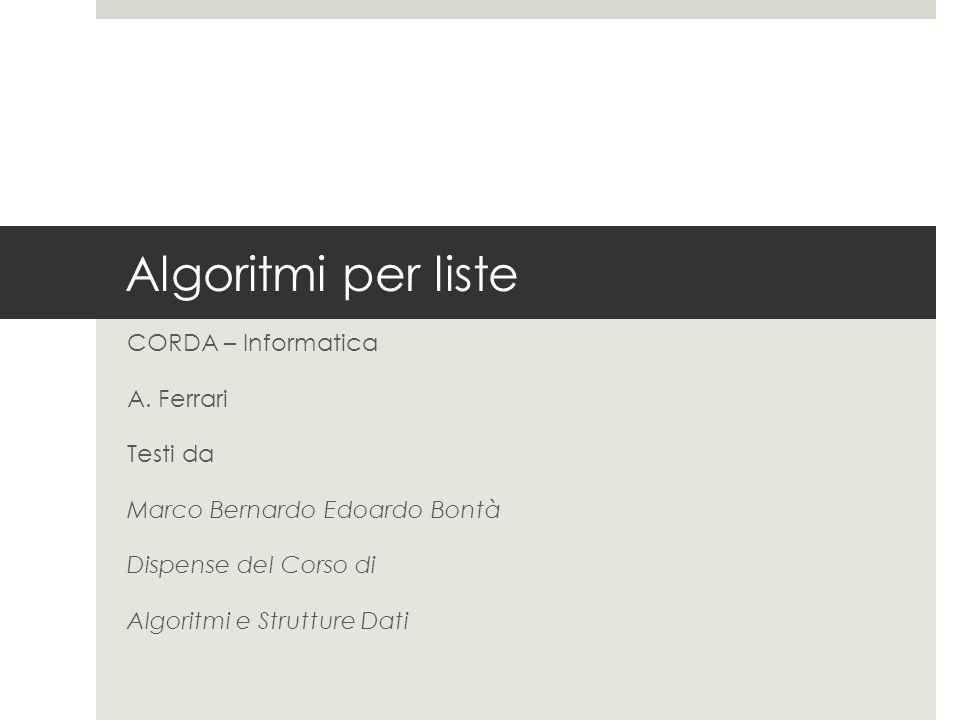 Algoritmi per liste CORDA – Informatica A.