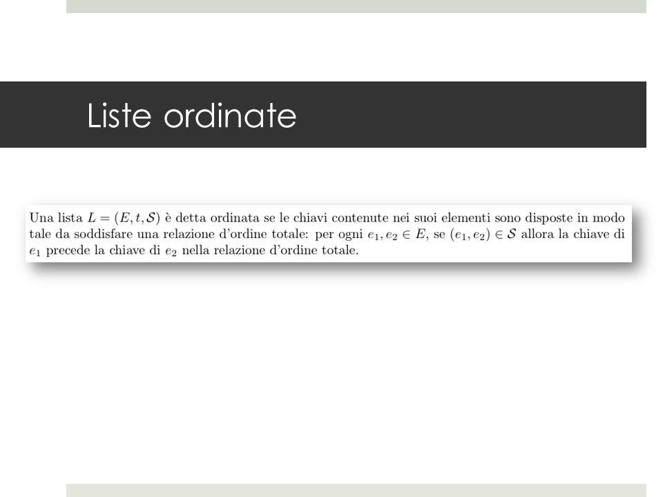 Liste - rappresentazione  Una lista viene rappresentata come una struttura dati dinamica lineare, in cui ogni elemento contiene solo il riferimento all'elemento successivo (lista singolarmente collegata) oppure anche il riferimento all'elemento precedente (lista doppiamente collegata)
