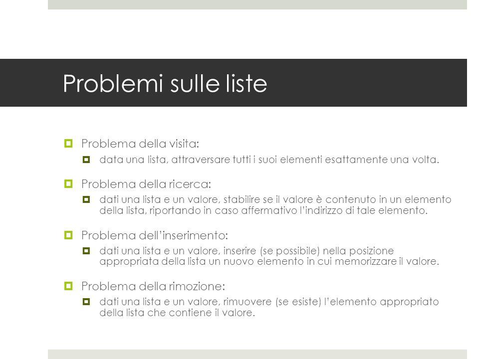 Problemi sulle liste  Problema della visita:  data una lista, attraversare tutti i suoi elementi esattamente una volta.