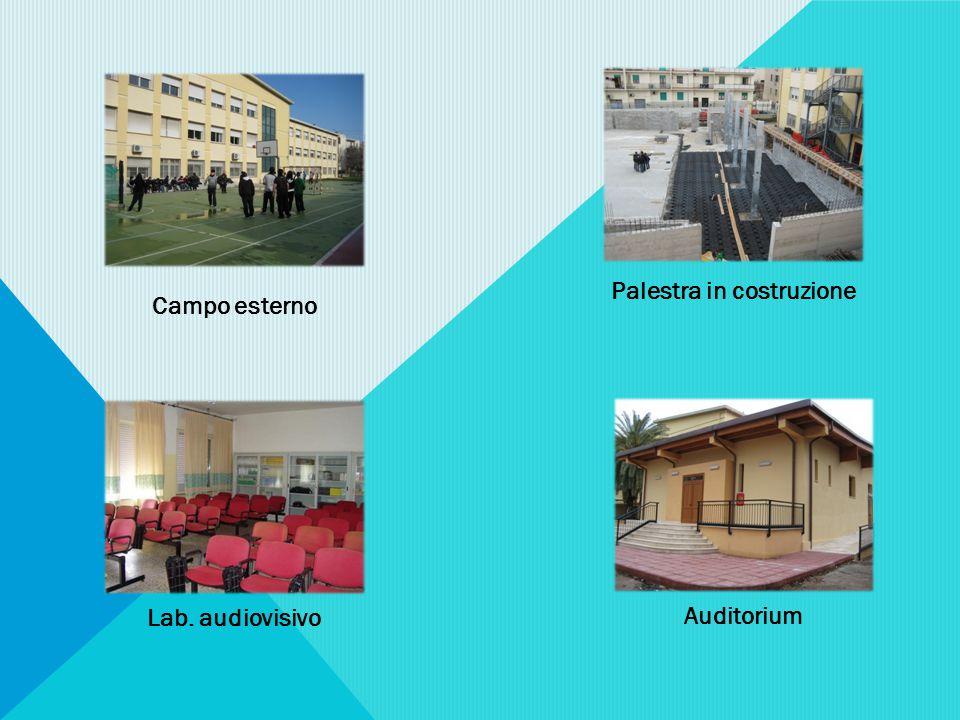Campo esterno Palestra in costruzione Lab. audiovisivo Auditorium