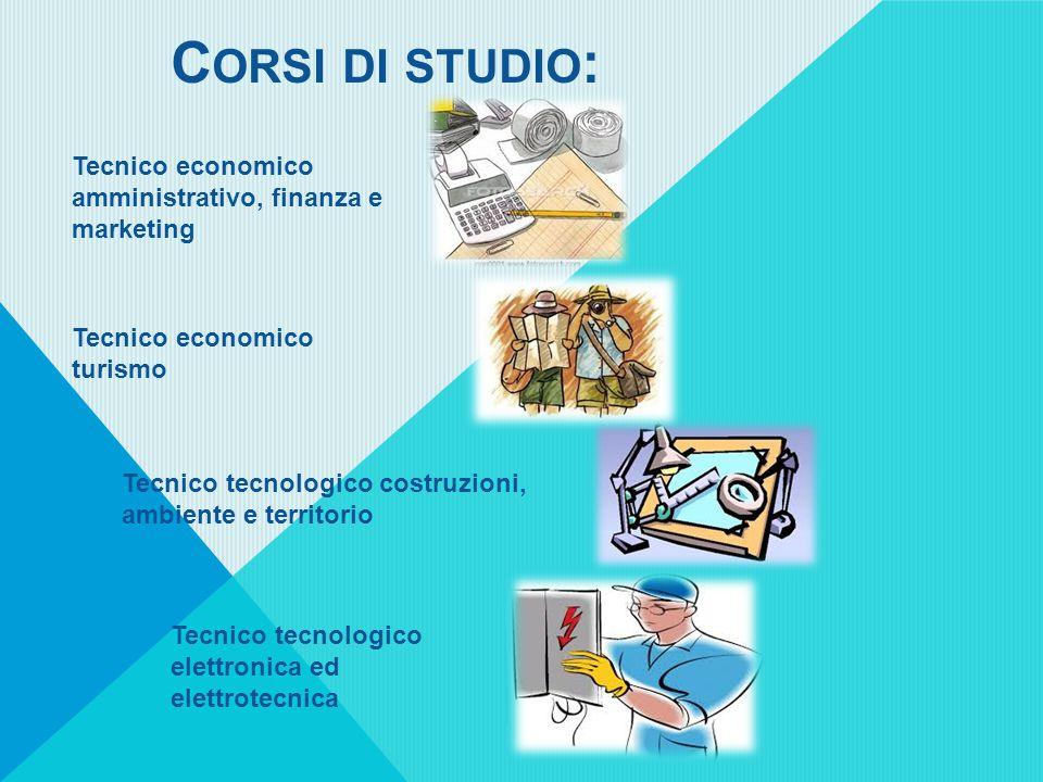 C ORSI DI STUDIO : Tecnico economico amministrativo, finanza e marketing Tecnico economico turismo Tecnico tecnologico costruzioni, ambiente e territorio Tecnico tecnologico elettronica ed elettrotecnica
