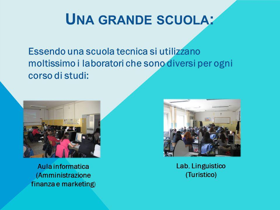 U NA GRANDE SCUOLA : Essendo una scuola tecnica si utilizzano moltissimo i laboratori che sono diversi per ogni corso di studi: Aula informatica (Amministrazione finanza e marketing) Lab.