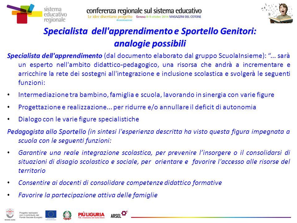 Specialista dell'apprendimento e Sportello Genitori: analogie possibili Specialista dell'apprendimento Specialista dell'apprendimento (dal documento e