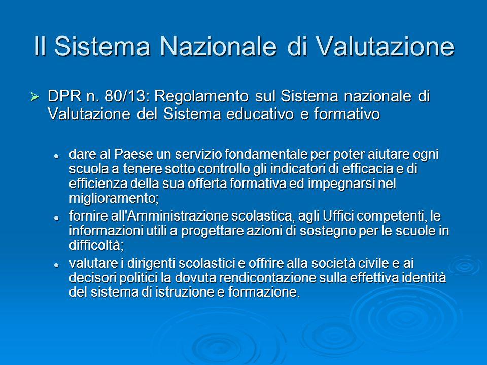Il Sistema Nazionale di Valutazione  DPR n.