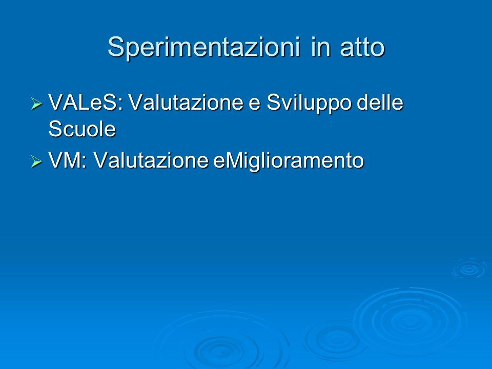 Sperimentazioni in atto  VALeS: Valutazione e Sviluppo delle Scuole  VM: Valutazione eMiglioramento