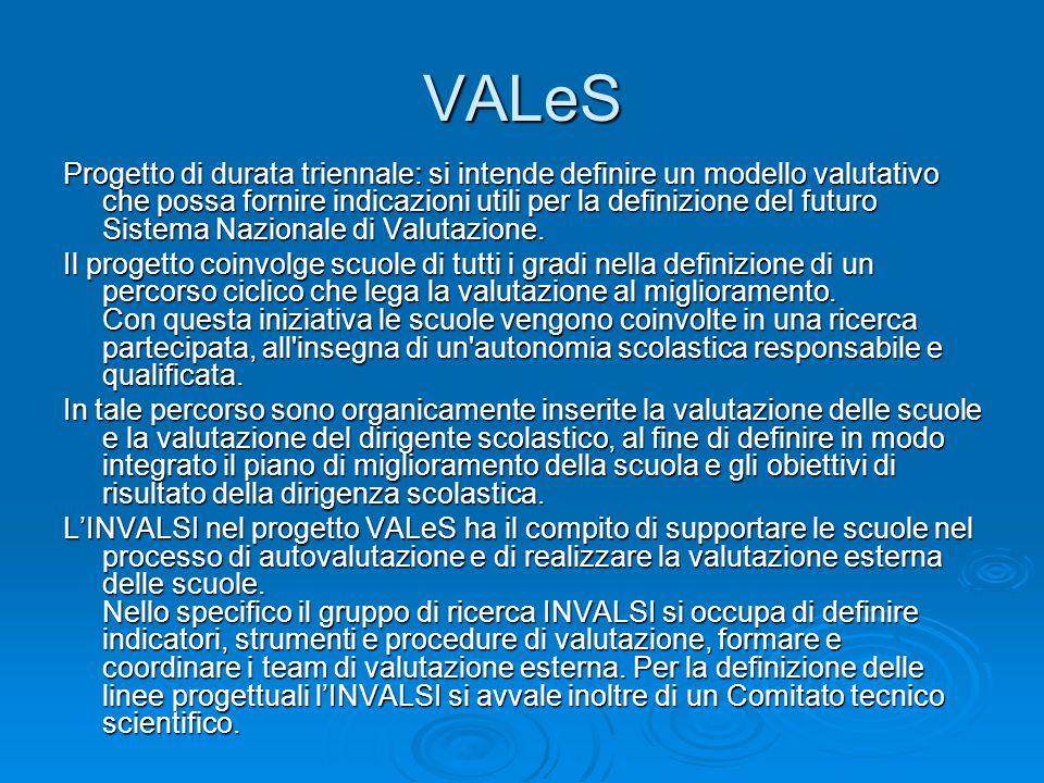 VALeS Progetto di durata triennale: si intende definire un modello valutativo che possa fornire indicazioni utili per la definizione del futuro Sistema Nazionale di Valutazione.