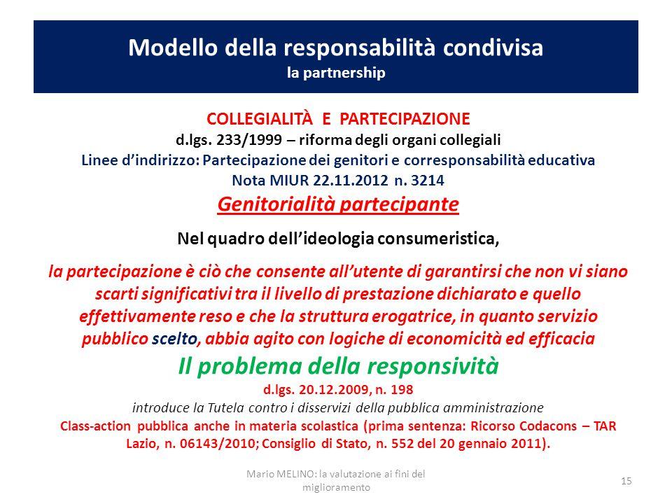 Modello della responsabilità condivisa la partnership COLLEGIALITÀ E PARTECIPAZIONE d.lgs. 233/1999 – riforma degli organi collegiali Linee d'indirizz