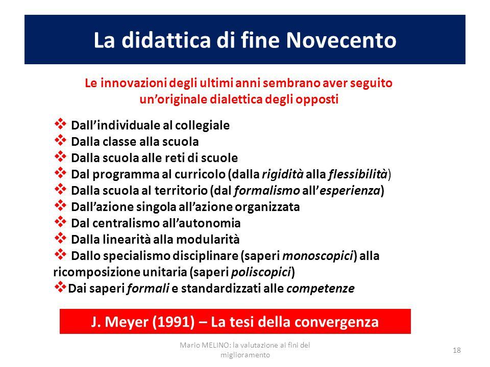 La didattica di fine Novecento Le innovazioni degli ultimi anni sembrano aver seguito un'originale dialettica degli opposti  Dall'individuale al coll