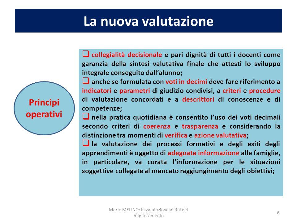 La nuova valutazione 6 Principi operativi  collegialità decisionale e pari dignità di tutti i docenti come garanzia della sintesi valutativa finale c