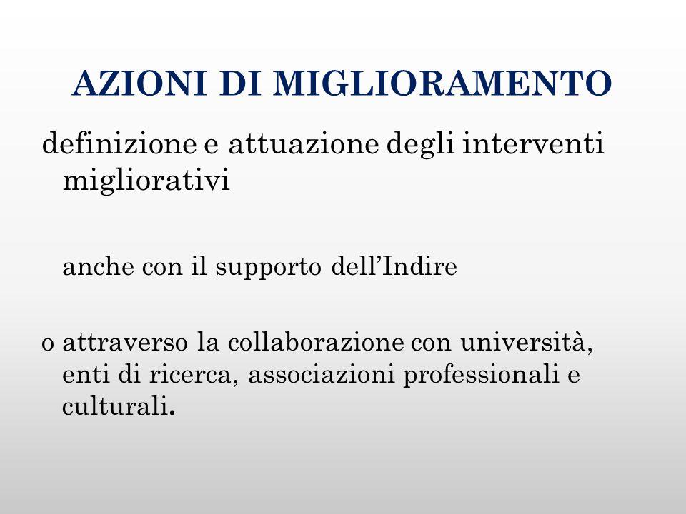 AZIONI DI MIGLIORAMENTO definizione e attuazione degli interventi migliorativi anche con il supporto dell'Indire o attraverso la collaborazione con università, enti di ricerca, associazioni professionali e culturali.