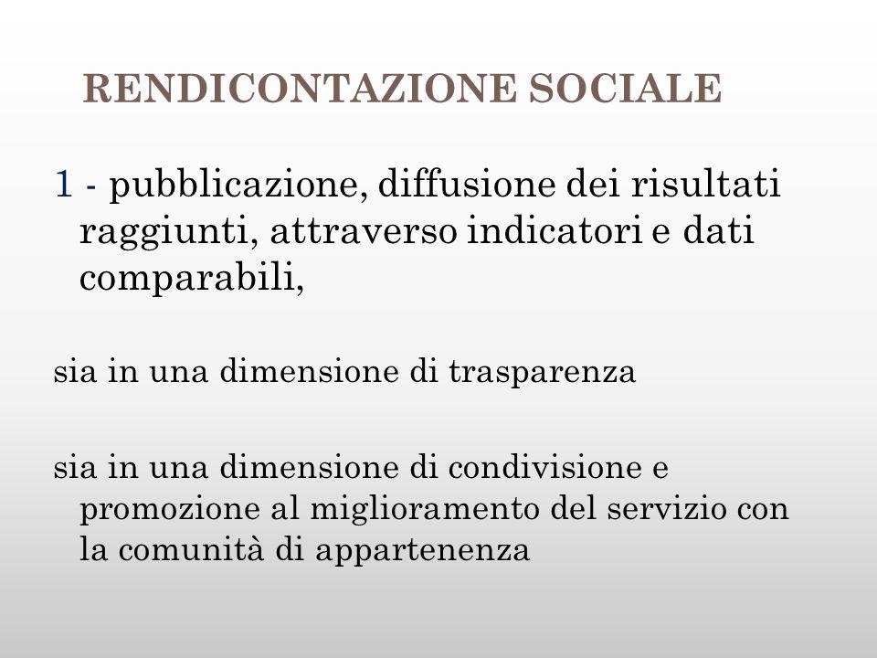 RENDICONTAZIONE SOCIALE 1 - pubblicazione, diffusione dei risultati raggiunti, attraverso indicatori e dati comparabili, sia in una dimensione di trasparenza sia in una dimensione di condivisione e promozione al miglioramento del servizio con la comunità di appartenenza