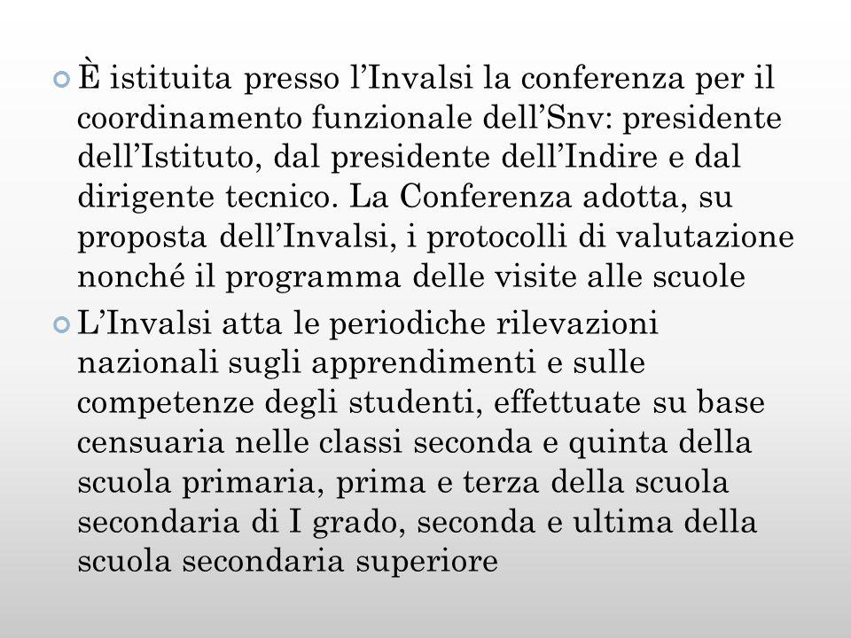 È istituita presso l'Invalsi la conferenza per il coordinamento funzionale dell'Snv: presidente dell'Istituto, dal presidente dell'Indire e dal dirigente tecnico.