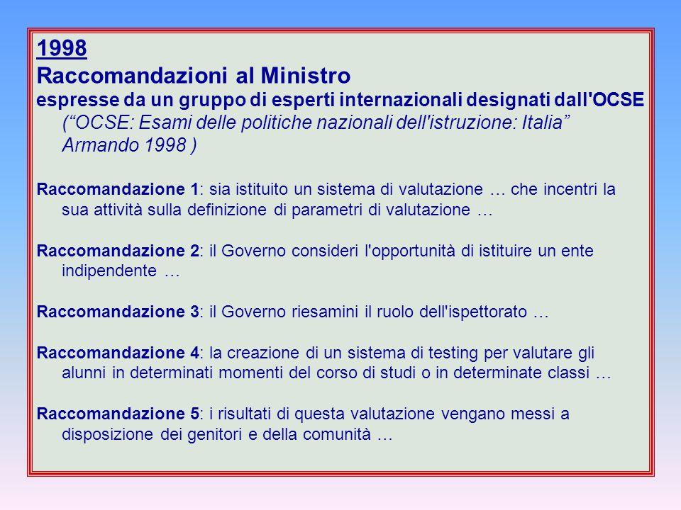 """1998 Raccomandazioni al Ministro espresse da un gruppo di esperti internazionali designati dall'OCSE (""""OCSE: Esami delle politiche nazionali dell'istr"""