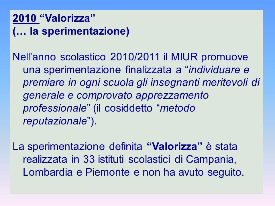"""2010 """"Valorizza"""" (… la sperimentazione) Nell'anno scolastico 2010/2011 il MIUR promuove una sperimentazione finalizzata a """"individuare e premiare in o"""