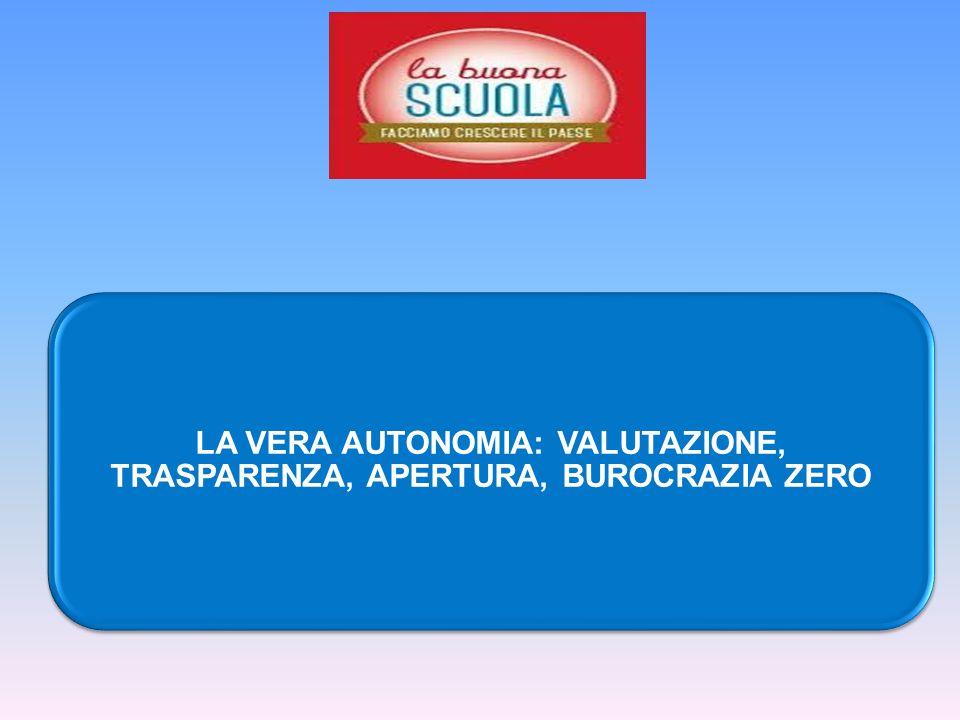 LA VERA AUTONOMIA: VALUTAZIONE, TRASPARENZA, APERTURA, BUROCRAZIA ZERO