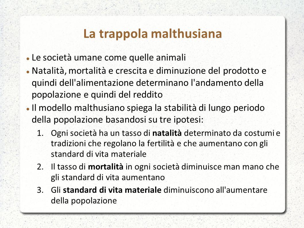 Le società umane come quelle animali Natalità, mortalità e crescita e diminuzione del prodotto e quindi dell'alimentazione determinano l'andamento del