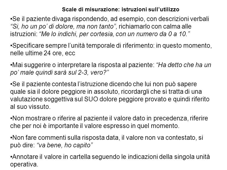 """Scale di misurazione: istruzioni sull'utilizzo Se il paziente divaga rispondendo, ad esempio, con descrizioni verbali """"Si, ho un po' di dolore, ma non"""