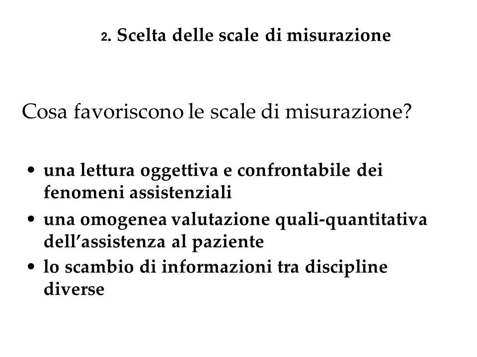 Cosa favoriscono le scale di misurazione? 2. Scelta delle scale di misurazione una lettura oggettiva e confrontabile dei fenomeni assistenziali una om