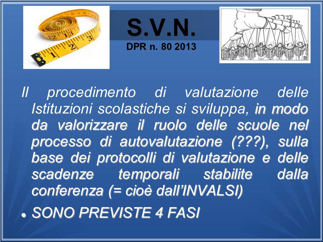 S.V.N. DPR n. 80 2013 in modo da valorizzare il ruolo delle scuole nel processo di autovalutazione (???), sulla base dei protocolli di valutazione e d