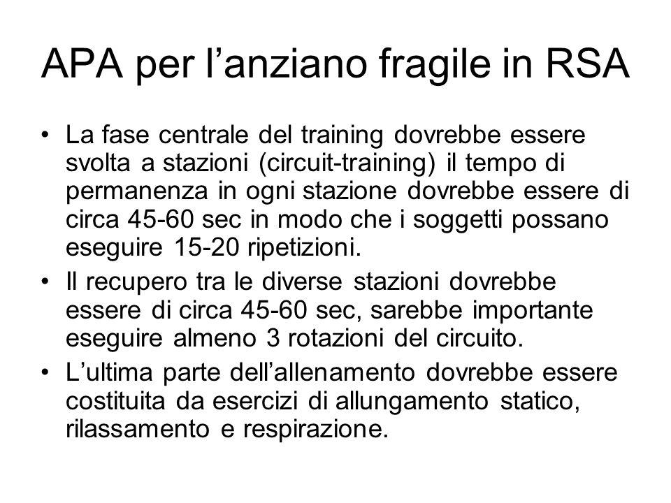La fase centrale del training dovrebbe essere svolta a stazioni (circuit-training) il tempo di permanenza in ogni stazione dovrebbe essere di circa 45