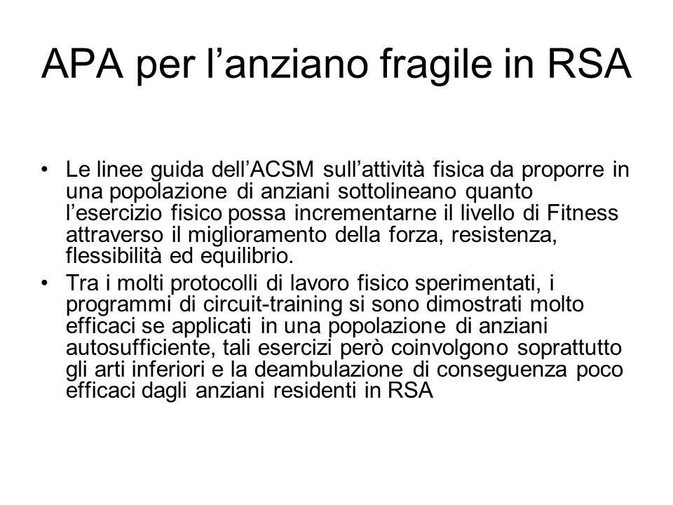 APA per l'anziano fragile in RSA Le linee guida dell'ACSM sull'attività fisica da proporre in una popolazione di anziani sottolineano quanto l'eserciz