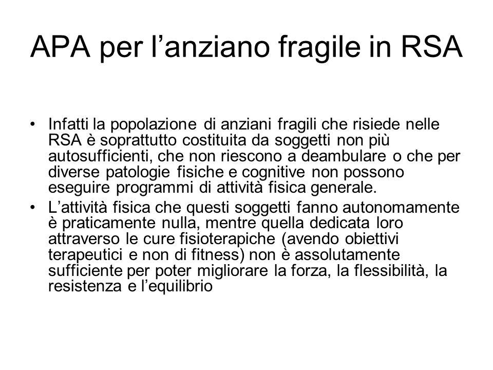 APA per l'anziano fragile in RSA Infatti la popolazione di anziani fragili che risiede nelle RSA è soprattutto costituita da soggetti non più autosuff