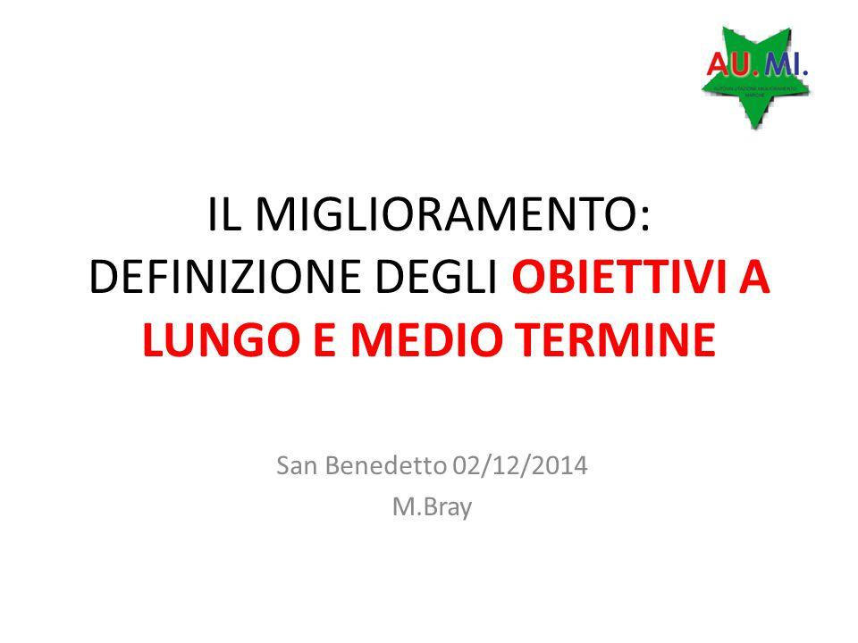 IL MIGLIORAMENTO: DEFINIZIONE DEGLI OBIETTIVI A LUNGO E MEDIO TERMINE San Benedetto 02/12/2014 M.Bray