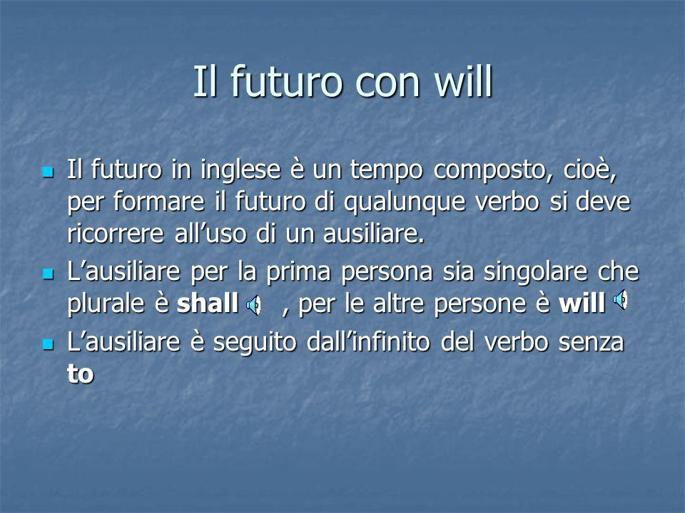 Il futuro con will Il futuro in inglese è un tempo composto, cioè, per formare il futuro di qualunque verbo si deve ricorrere all'uso di un ausiliare.