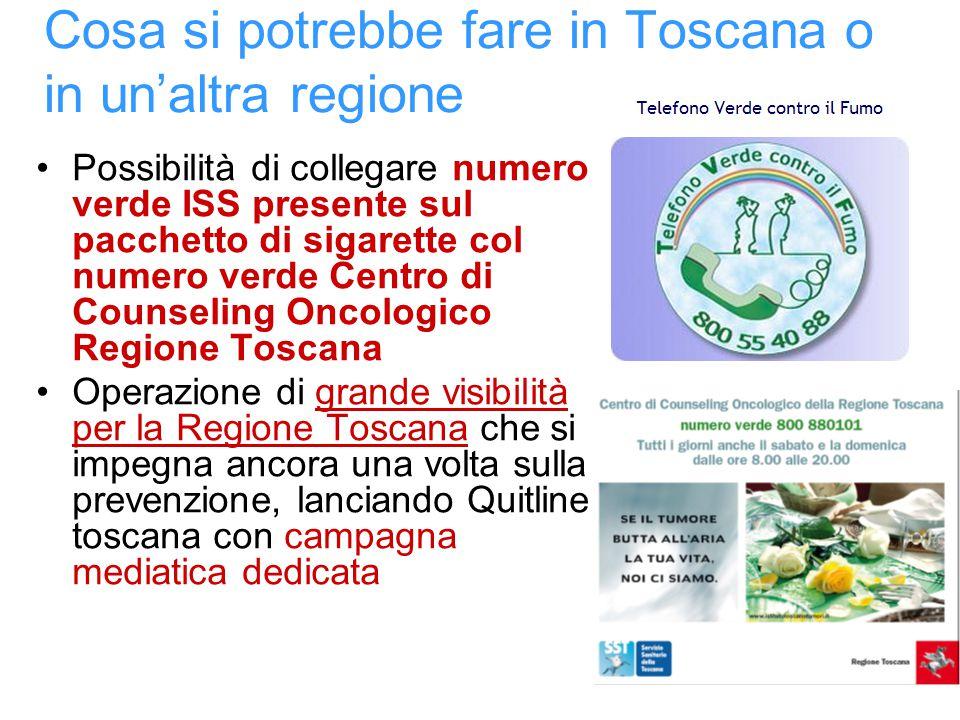 Cosa si potrebbe fare in Toscana o in un'altra regione Possibilità di collegare numero verde ISS presente sul pacchetto di sigarette col numero verde Centro di Counseling Oncologico Regione Toscana Operazione di grande visibilità per la Regione Toscana che si impegna ancora una volta sulla prevenzione, lanciando Quitline toscana con campagna mediatica dedicata