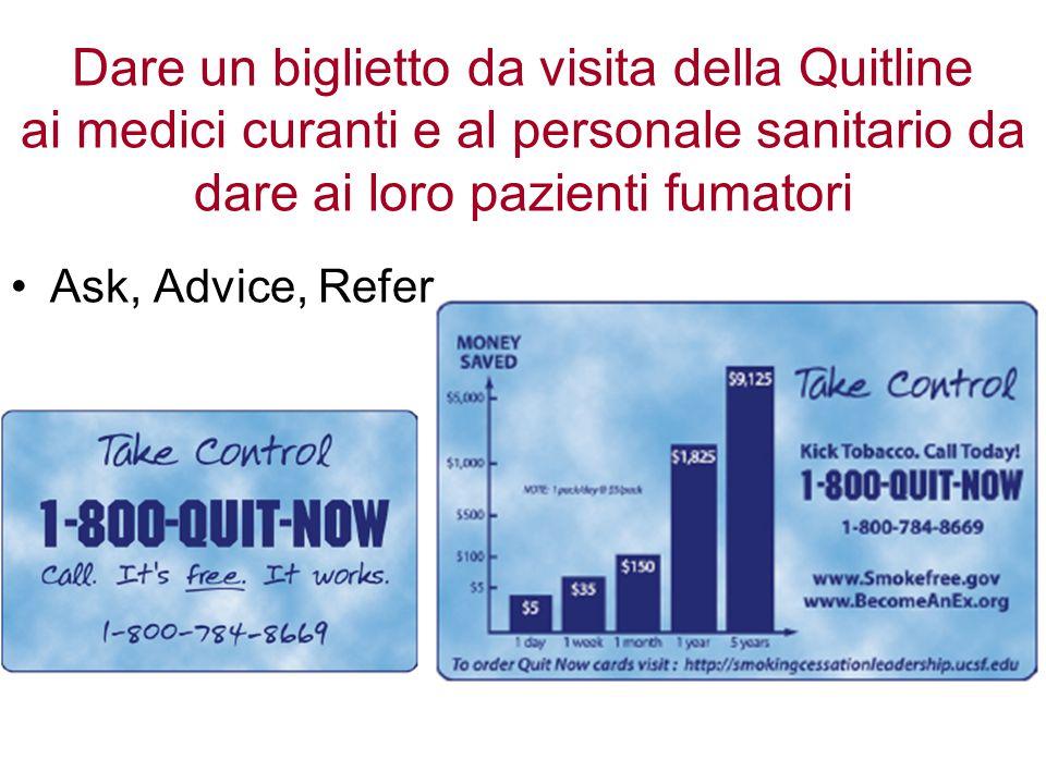 Dare un biglietto da visita della Quitline ai medici curanti e al personale sanitario da dare ai loro pazienti fumatori Ask, Advice, Refer