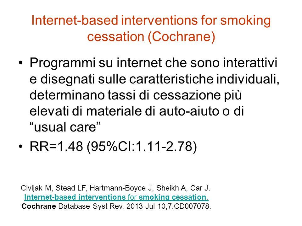 Internet-based interventions for smoking cessation (Cochrane) Programmi su internet che sono interattivi e disegnati sulle caratteristiche individuali, determinano tassi di cessazione più elevati di materiale di auto-aiuto o di usual care RR=1.48 (95%CI:1.11-2.78) Civljak M, Stead LF, Hartmann-Boyce J, Sheikh A, Car J.