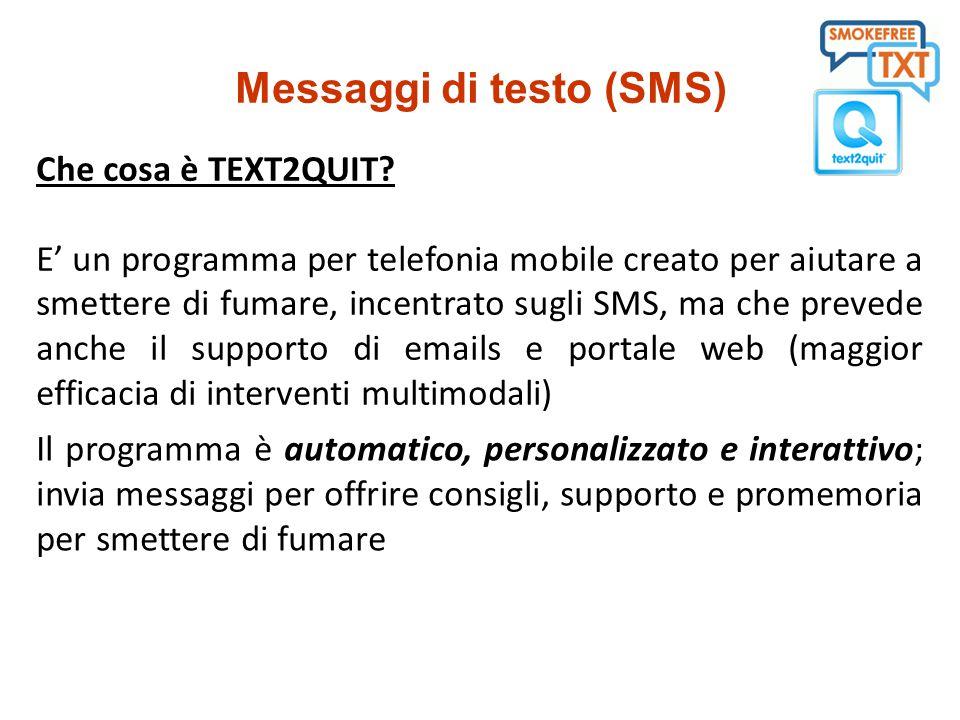 Programma settimanale di sms e emails - i messaggi vengono sviluppati coerentemente alle L.G.