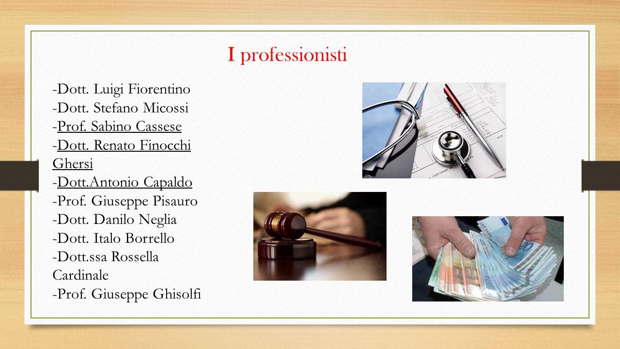 I professionisti -Dott. Luigi Fiorentino -Dott. Stefano Micossi -Prof. Sabino Cassese -Dott. Renato Finocchi Ghersi -Dott.Antonio Capaldo -Prof. Giuse