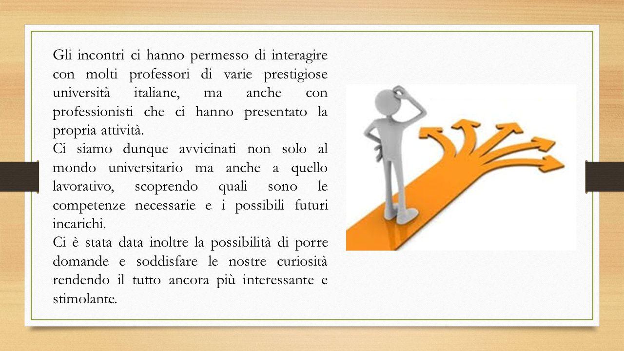 Gli incontri ci hanno permesso di interagire con molti professori di varie prestigiose università italiane, ma anche con professionisti che ci hanno p