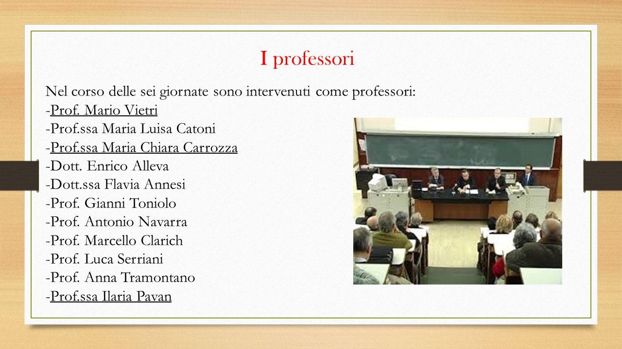 I professori Nel corso delle sei giornate sono intervenuti come professori: -Prof. Mario Vietri -Prof.ssa Maria Luisa Catoni -Prof.ssa Maria Chiara Ca