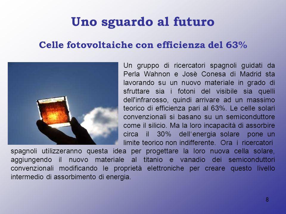 8 Uno sguardo al futuro Celle fotovoltaiche con efficienza del 63% Un gruppo di ricercatori spagnoli guidati da Perla Wahnon e Josè Conesa di Madrid s