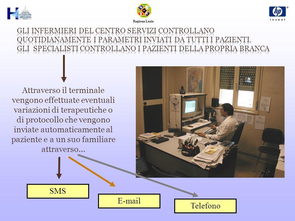 Attraverso il terminale vengono effettuate eventuali variazioni di terapeutiche o di protocollo che vengono inviate automaticamente al paziente e a un suo familiare attraverso… SMS E-mail Telefono