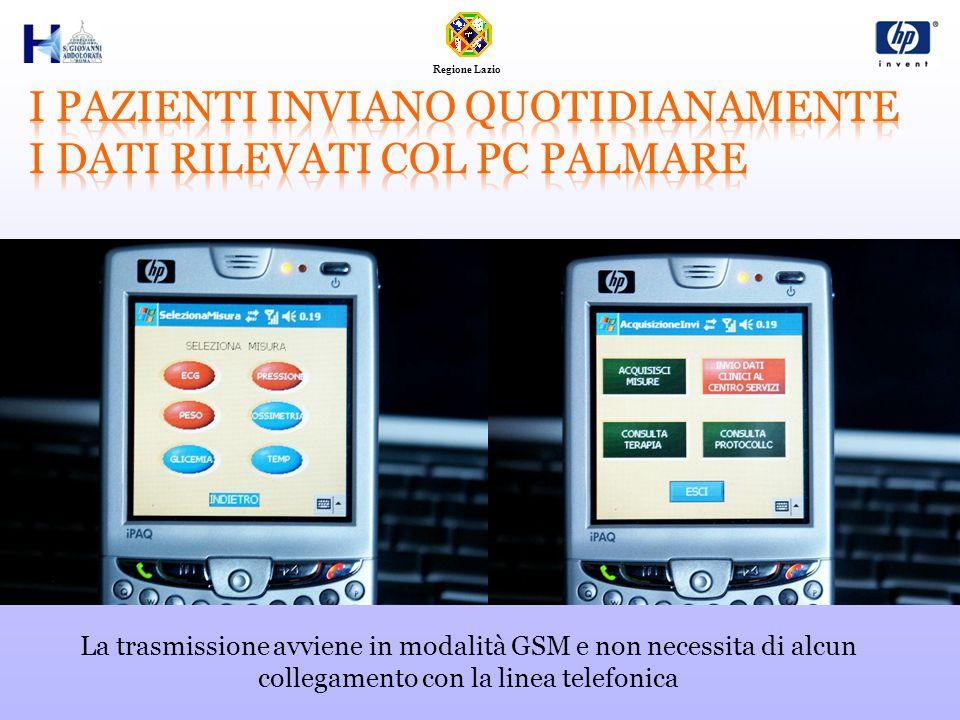 Regione Lazio La trasmissione avviene in modalità GSM e non necessita di alcun collegamento con la linea telefonica
